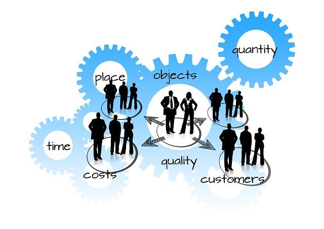 ozubená kolečka s pojmy správy podnikání