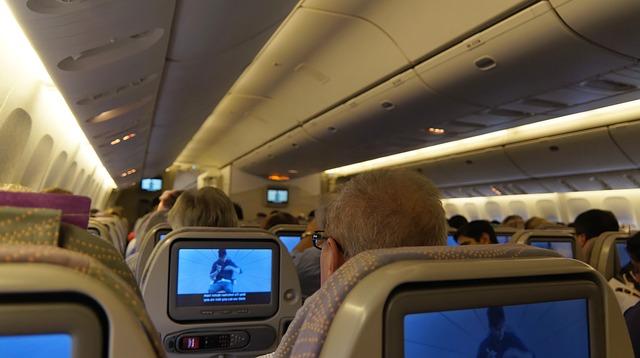 Interiér letadla při letu