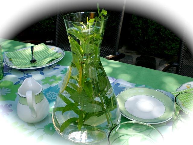 karafa s vodou naplněná bylinkami.jpg